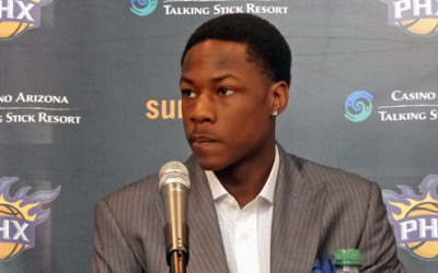 Archie Goodwin 29th pick in the 2013 NBA draft press conference wearing a CJ Custom Clothiers bespoke garment